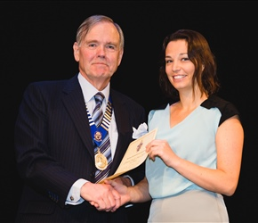 Clinical audit prize winner Dr Claire Dunbar with Dr John Muir