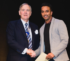Houston research award winner Dr Neil Patel with Dr John Muir