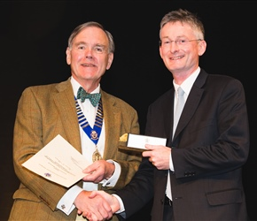 BOS distinction award winner Prof Kevin OBrien with Dr John Muir