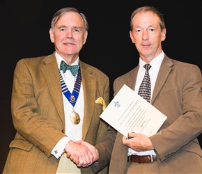 BOS special service award winner Dr Nigel Fox with Dr John Muir